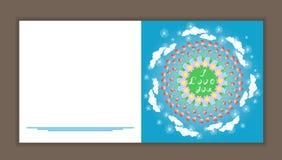 Красивые круговые украшенные цветочные узоры конструируют поздравительную открытку с словами я тебя люблю также вектор иллюстраци Стоковая Фотография