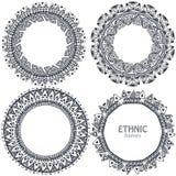 Красивые круглые рамки установили с элементами нарисованными рукой этническими Стоковые Фотографии RF