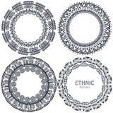 Красивые круглые рамки установили с элементами нарисованными рукой этническими Стоковые Фото