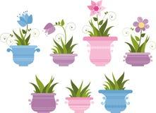 Красивые крытые заводы в цветочных горшках иллюстрация штока