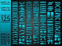 Красивые ленты, бирки и дизайн вектора собрания смычков установленный Стоковая Фотография