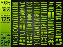 Красивые ленты, бирки и дизайн вектора собрания смычков установленный Стоковая Фотография RF