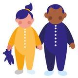 Красивые маленькие ребята соединяют межрасовые характеры иллюстрация штока