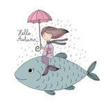Красивые маленькие русалка и рыбы сирена Стоковое Изображение