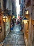 Красивые маленькие улицы в Дубровнике Стоковые Фото