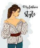 Красивые молодые женщины в одеждах моды Детальный женский характер с аксессуарами вектор Стоковые Изображения
