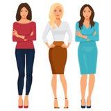 Красивые молодые женщины в элегантных одеждах офиса также вектор иллюстрации притяжки corel Стоковые Фотографии RF