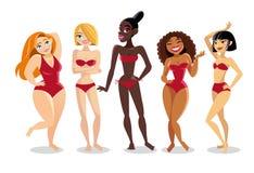 Красивые молодые женщины различной национальности в бикини стоковые фотографии rf
