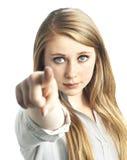 Красивые молодые женщины указывая на камеру стоковое изображение rf