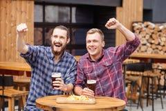 Красивые 2 мужских друз отдыхают в баре Стоковое Изображение