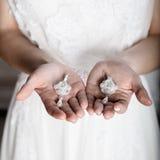 Красивые невеста и серьги в руках Стоковая Фотография