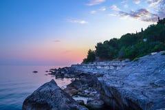 Красивые ноча и заход солнца Стоковое Изображение