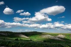 Красивые облака на голубом небе и ландшафте поля лета зеленом Стоковые Фотографии RF