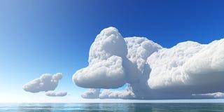 Красивые облака 3D seascape представляют Стоковое Фото