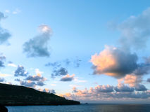 Красивые облака перед подъемом Supermoon Стоковые Изображения RF