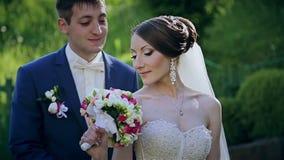 Красивые пары свадьбы в парке видеоматериал