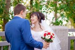 Красивые пары свадьбы на природе Стоковая Фотография