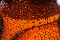 Красивые падения на бутылке пива Стоковая Фотография