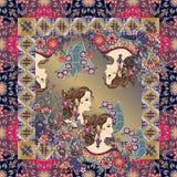 Красивые портреты и цветки женщин в орнаментальной рамке Стоковые Фотографии RF