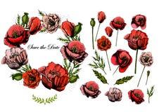 Красивые приглашение и элементы свадьбы с Иллюстрация вектора