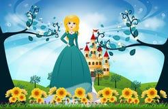 Красивые принцесса и замок Стоковая Фотография