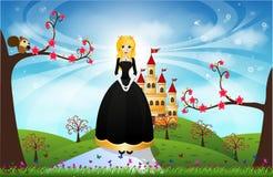 Красивые принцесса и замок Стоковое Изображение RF