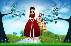 Красивые принцесса и замок Стоковые Фото