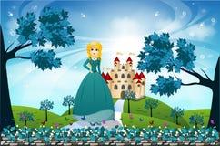 Красивые принцесса и замок Стоковое Фото