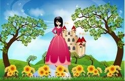 Красивые принцесса и замок Стоковые Фотографии RF
