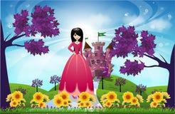 Красивые принцесса и замок Стоковая Фотография RF