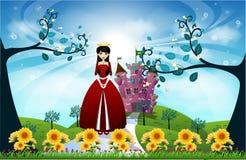 Красивые принцесса и замок Стоковые Изображения RF