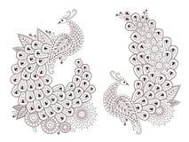 Красивые птицы павлина вектора в индийском стиле mehndi Стоковое Изображение