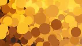 Красивые пузыри летая бесконечно слева направо и изменяя цвета r Хаотические оранжевые и черные круги иллюстрация штока
