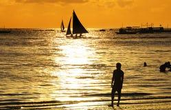 Красивые пляжи вечера Стоковые Изображения
