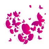 Красивые розовые бабочки, сердце изолированное на белизне иллюстрация вектора