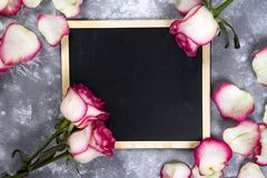 Красивые розовые цветки на серой каменной таблице граница флористическая Стоковые Изображения RF