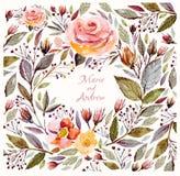 Красивые розы и листья иллюстрация вектора
