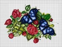 Красивые розы с бабочками Геометрический стиль Стоковое фото RF