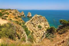 Красивые скалы Ponta da Piedade, области Лагоса, Алгарве, Португалии стоковая фотография rf