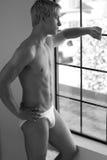 красивые смотря детеныши окна человека вне Стоковое Фото