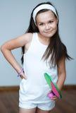 Красивые спортсмены девушки с ракеткой тенниса и теннисным мячом Стоковые Фотографии RF