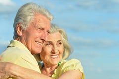 Красивые старшие пары представляя и обнимая в парке стоковое изображение