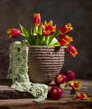 Красивые тюльпаны и красные яблоки Стоковые Фотографии RF