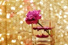 Красивые украшения рождества против золотого вышитого бисером занавеса Стоковое Изображение RF