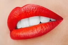 Красивые усмехаясь губы Стоковое Фото