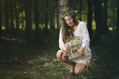 Красивые феи девушки и леса Стоковые Изображения RF