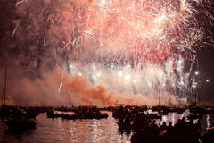 Красивые фейерверки в Венеции, Италии Стоковое Фото