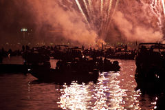 Красивые фейерверки в Венеции, Италии Стоковые Изображения RF