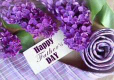 Красивые фиолетовые сирень и связь на День отца карточка 2007 приветствуя счастливое Новый Год Абстрактная предпосылка концепции  Стоковое Изображение