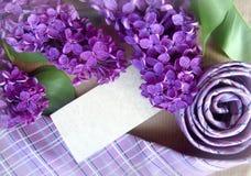 Красивые фиолетовые сирень и связь с местом для текста карточка 2007 приветствуя счастливое Новый Год Стоковые Изображения RF